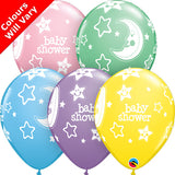 "11"" Baby Shower Moons & Stars Pastel Assorted Latex Balloons (pack 6)"