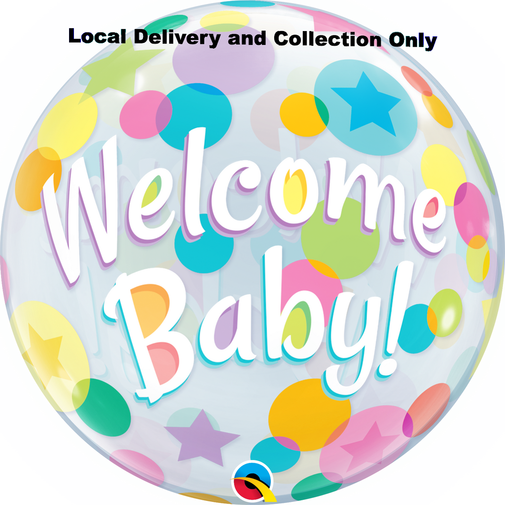 Welcome Baby Colourful Dots Bubble Balloon