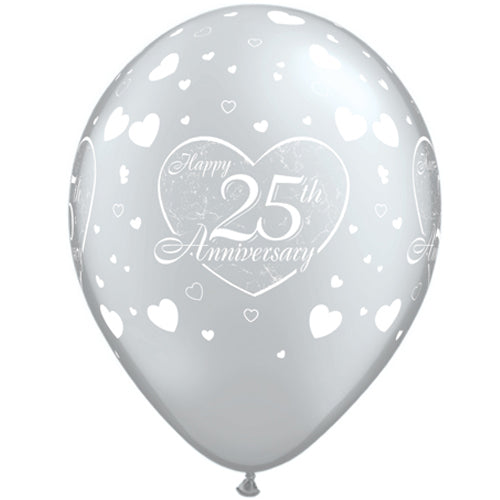 "11"" Silver 25th Anniversary Latex Balloons (Pack 6 Uninflated)"