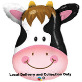 "Large Animal Head - 32"" Contented Cow Foil Balloon"