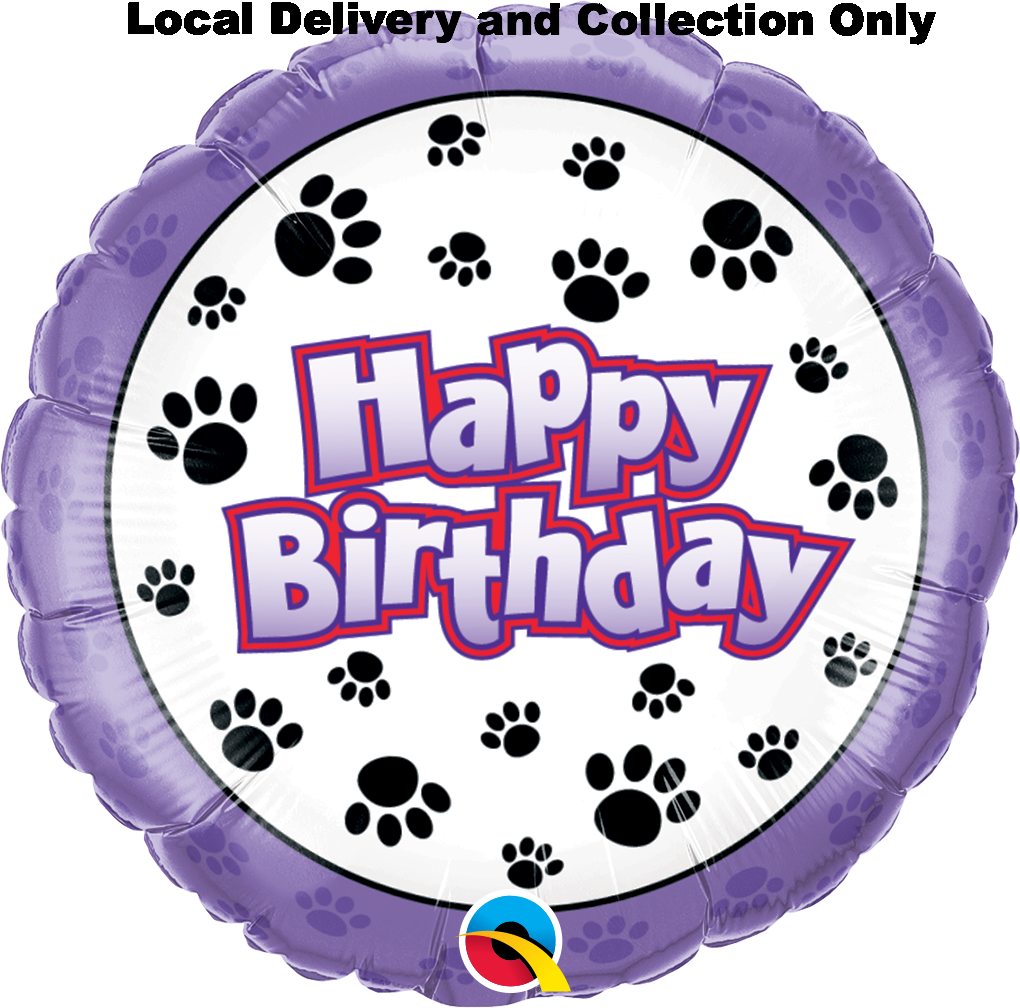 Birthday Paw Prints Foil Balloon