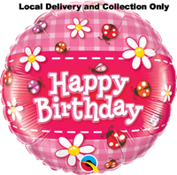 Birthday Ladybugs and Daisies Foil Balloon