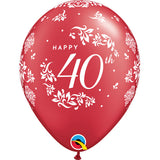 "11"" Silver 40th Anniversary Latex Balloons (Pack 6 Uninflated)"