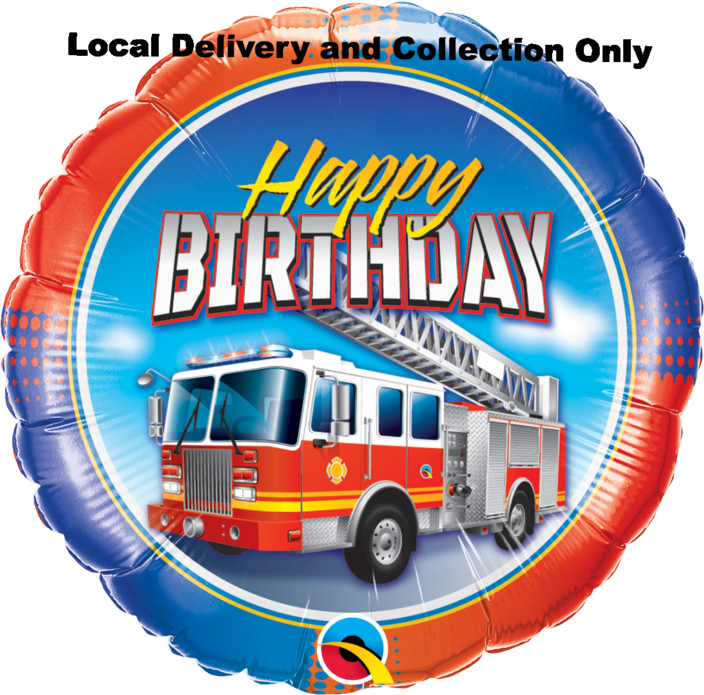 Birthday Fire Truck Foil Balloon