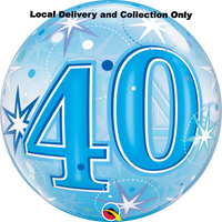 40 Blue Starburst Sparkle Bubble Balloon