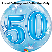 50 Blue Starburst Sparkle Bubble Balloon
