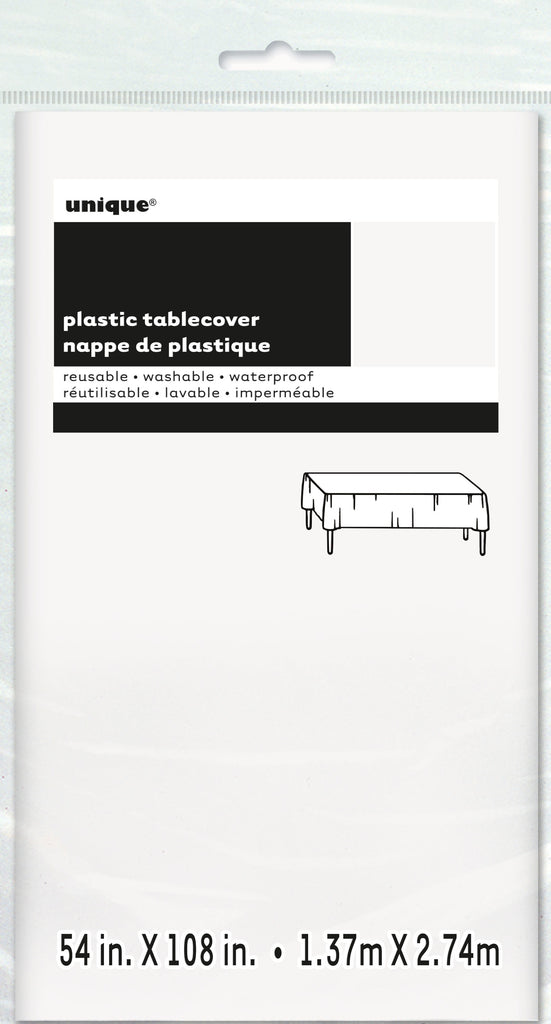 "Plastic Table Cover White 54""x108"""