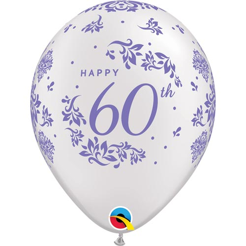 "11"" Pearl White 60th Anniversary Damask Latex Balloons (Pack 6)"