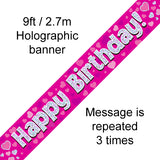 9ft Banner Happy Birthday Pink Holographic