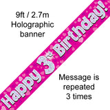 9ft Banner Happy 3rd Birthday Pink Holographic