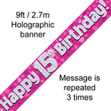 9ft Banner Happy 15th Birthday Pink Holographic