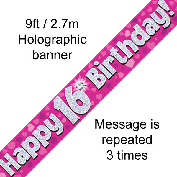 9ft Banner Happy 16th Birthday Pink Holographic