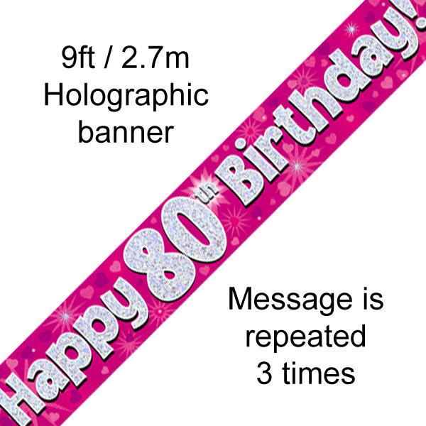 9ft Banner Happy 80th Birthday Pink Holographic