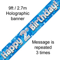 9ft Banner Happy 2nd Birthday Blue Holographic