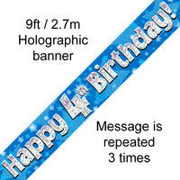 9ft Banner Happy 4th Birthday Blue Holographic