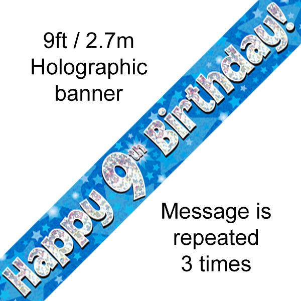 9ft Banner Happy 9th Birthday Blue Holographic