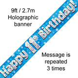 9ft Banner Happy 11th Birthday Blue Holographic