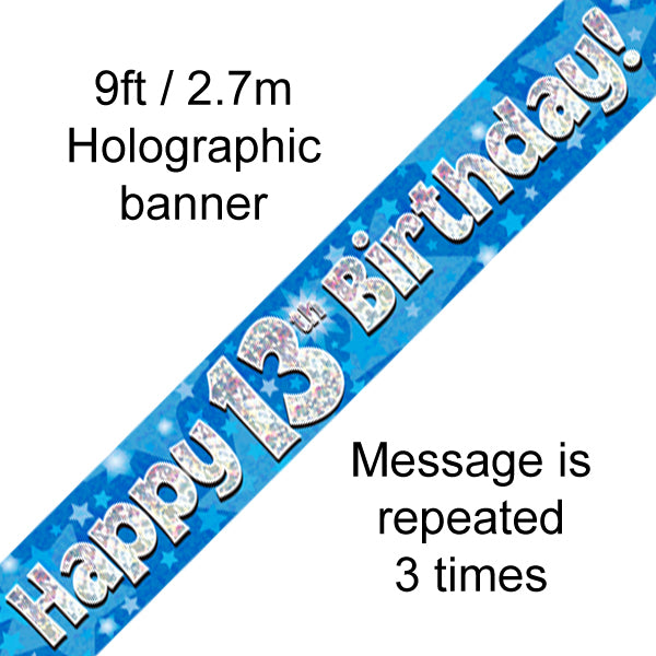 9ft Banner Happy 13th Birthday Blue Holographic