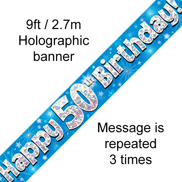 9ft Banner Happy 50th Birthday Blue Holograhic