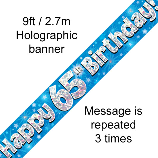 9ft Banner Happy 65th Birthday Blue Holographic