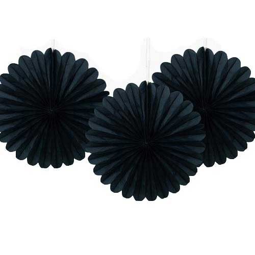 "6"" Black Tissue Paper Fans (Pack of 3)"