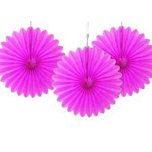 "6"" Hot Pink Tissue Paper Fans (Pack of 3)"