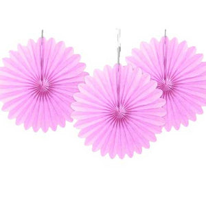"6"" Lovely Pink Tissue Paper Fans (Pack of 3)"