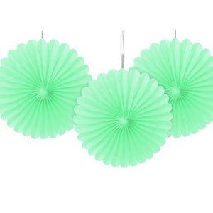 "6"" Mint Green Tissue Paper Fans (Pack of 3)"