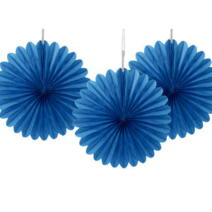 "6"" Royal Blue Tissue Paper Fans (Pack of 3)"