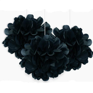 "9"" Black Tissue Paper Decor Puff Balls (Pack of 3)"
