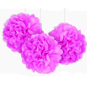"9"" Hot Pink Tissue Paper Decor Puff Balls (Pack of 3)"