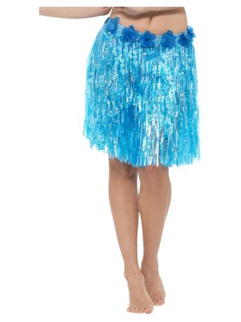 Hawaiian Hula Skirt - Blue, Mid Length