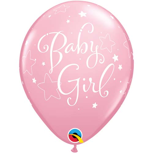 "11"" Pink Baby Girl Stars Latex Balloons (Pack 6 Uninflated)"