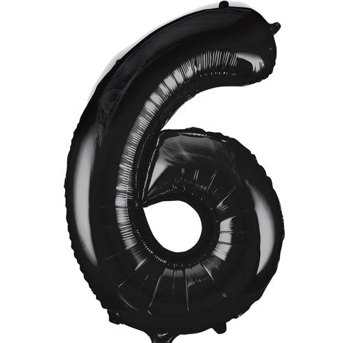 Large Black Number 6 Balloon By Unique