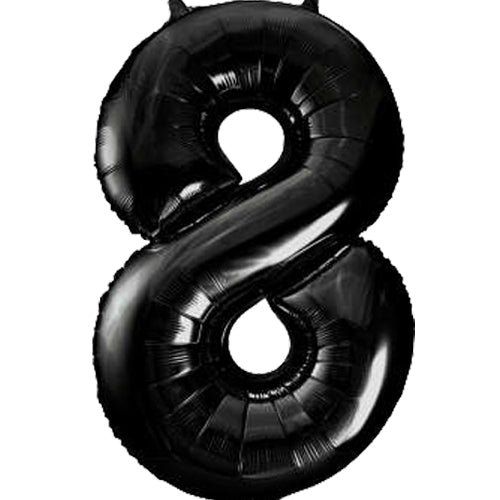 Large Black Number 8 Balloon By Unique
