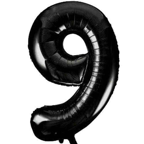 Large Black Number 9 Balloon By Unique