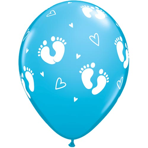 "11""  Blue Baby Footprints Latex Balloons (Pack 6 Uninflated)"