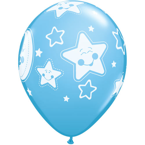 "11""  Pale Blue Baby Moons & Stars Latex Balloons (Pack 6 Uninflated)"