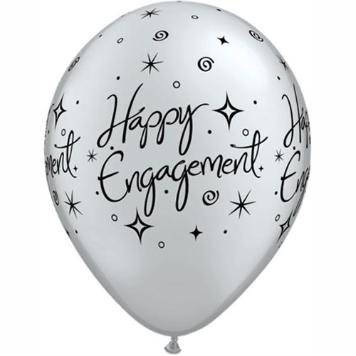 "11"" Silver Engagement Elegant Sparkles Latex Balloons (Pack 6 Uninflated)"