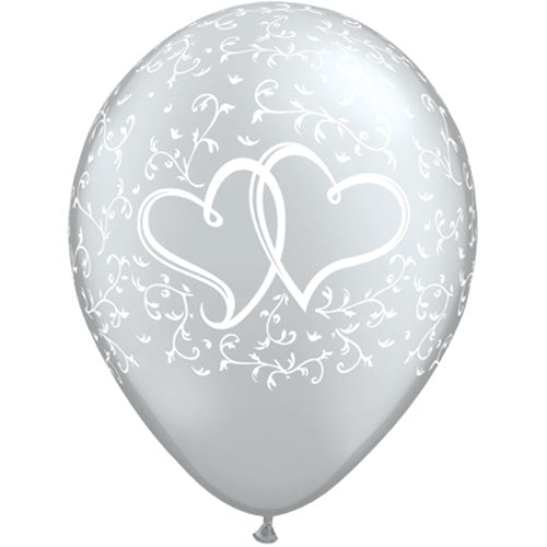 "11"" Silver Entwined Hearts Latex Balloons (Pack 6 Uninflated)"