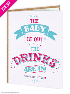 Baby Is Out New Baby Greetings Card
