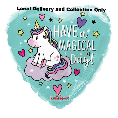"18"" Have A Magical Day Unicorn Heart Foil Balloon"