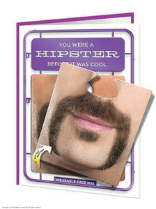 Hipster Facematt funny  Birthday card with wearable face mat