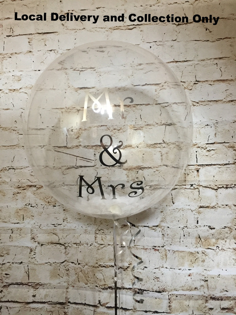 "24"" Deco Bubble with Feathers and Vinyl Text"