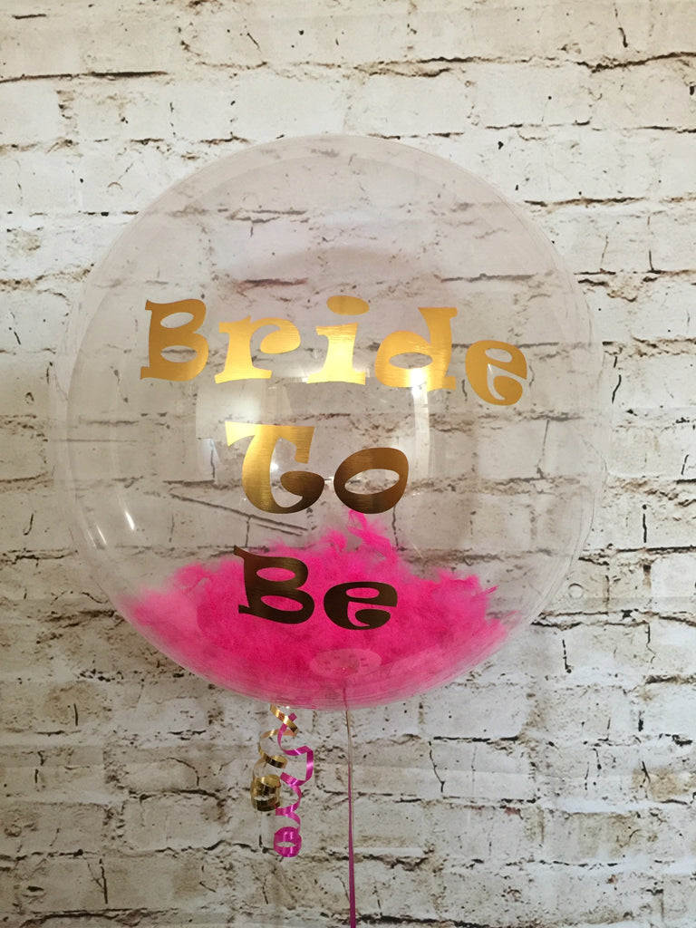 "20"" Deco Bubble with Feathers and Vinyl Text"