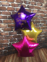 Set of 3 Foil Stars (top star with personalised glitter message)