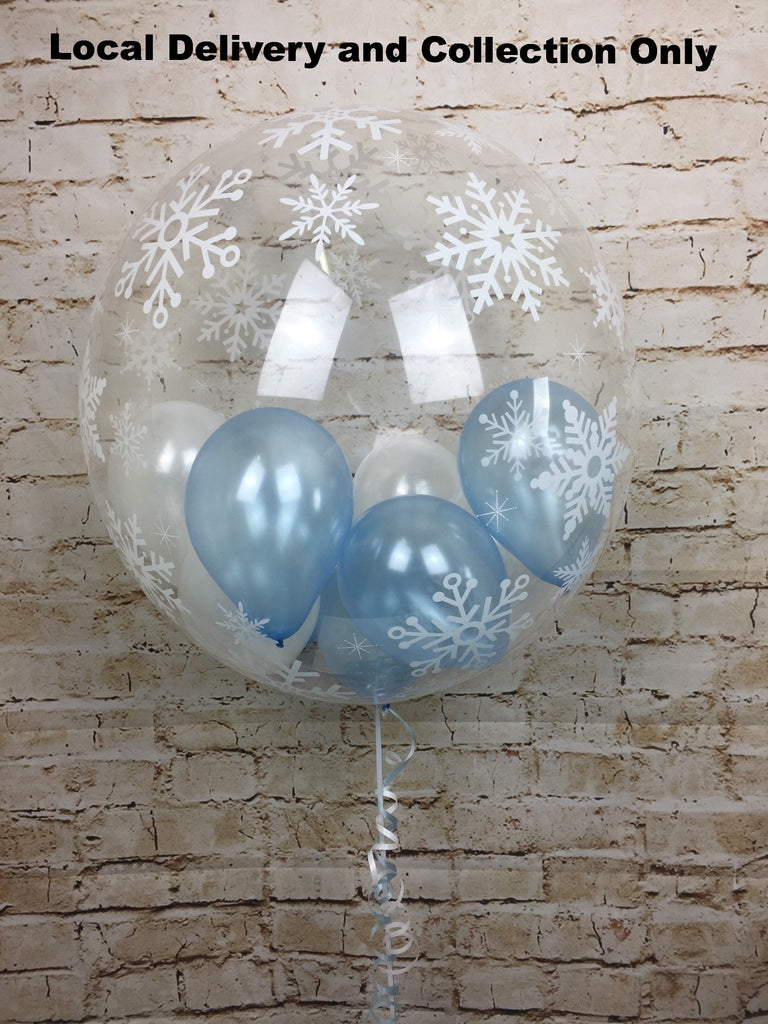 "24"" Snowflake Deco Bubble With Small Balloons Inside"
