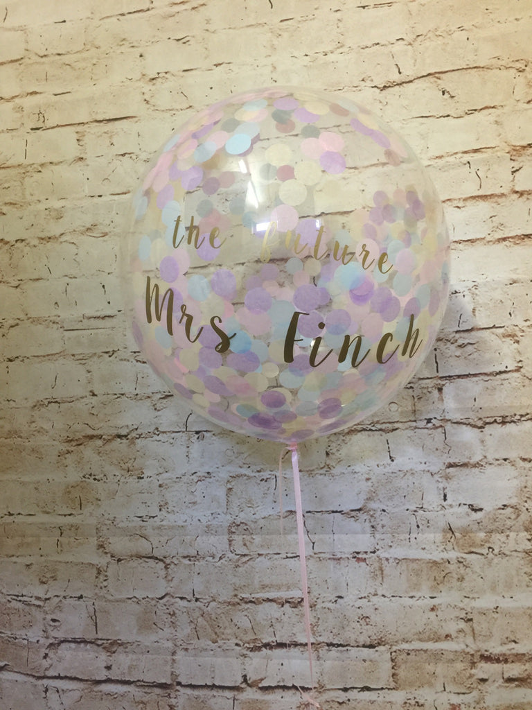 "20"" Clear Bubble Balloon With Confetti And Vinyl Text"