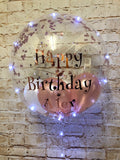 "20"" Light Up Deco Bubble With Printed Vinyl Message - White Lights"