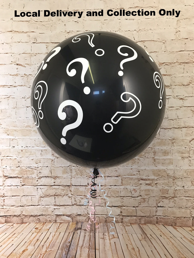 3' Gender reveal black latex balloon with question mark motif